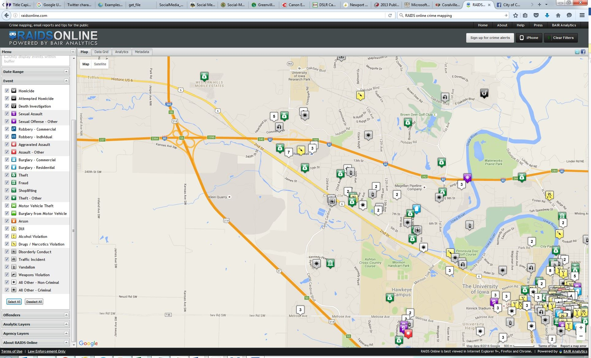 Crime Mapping Coralville IA Official Website - Map violation
