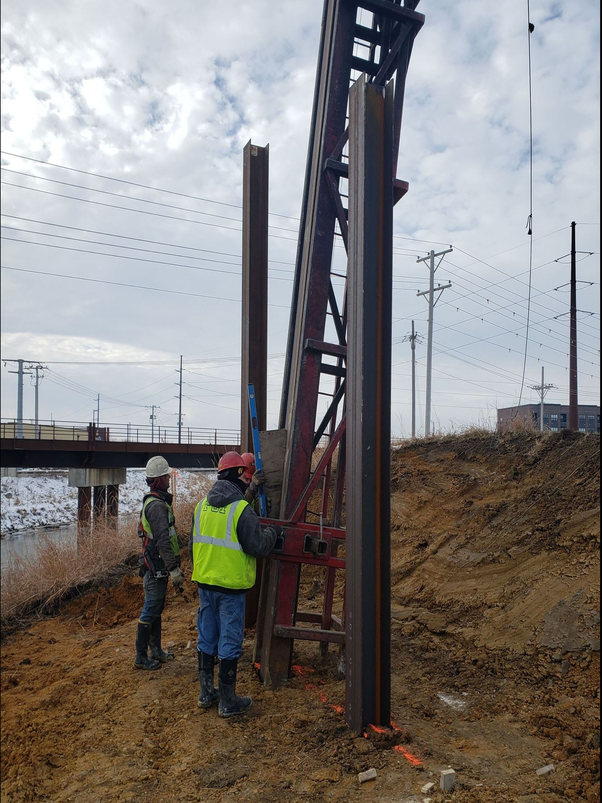 North abutment pile driving, Dec. 18, 2020